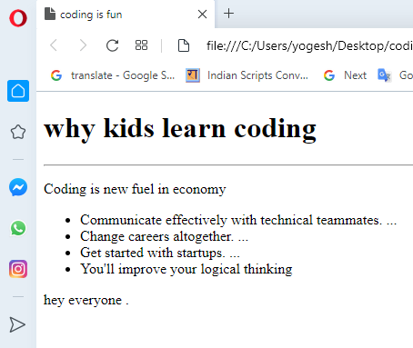 listing in HTML coding for kids