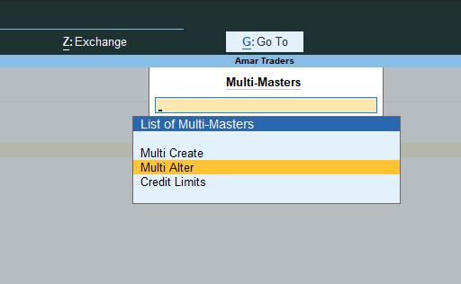 multiple ledger alter in tally prime
