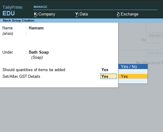 Create subgroup with GST rate and and HSN /SAC number