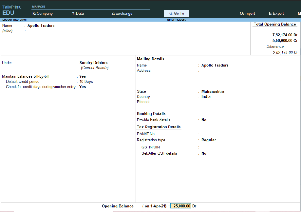 Maintain bill wise detail in tally prime 1