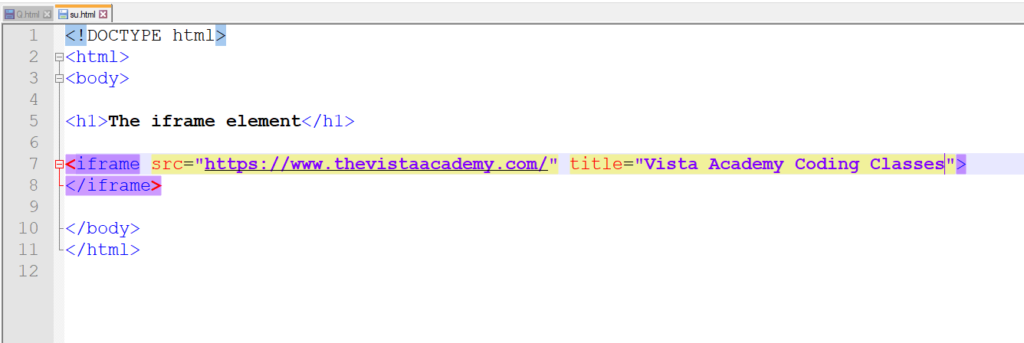 Iframe tag for html link a website