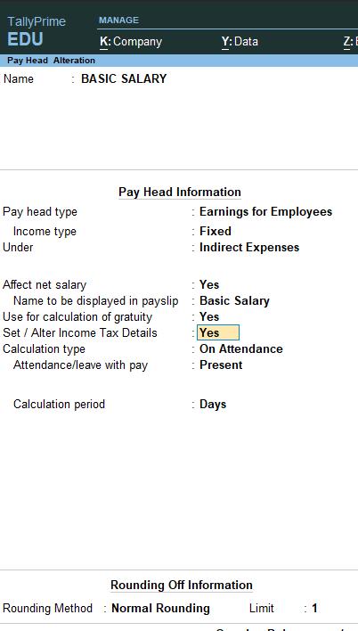 Basic Salary in Tally Prime