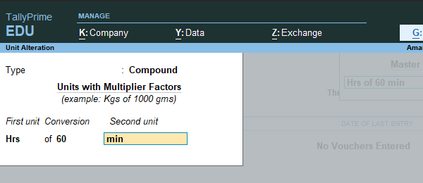 compound unit in tally prime
