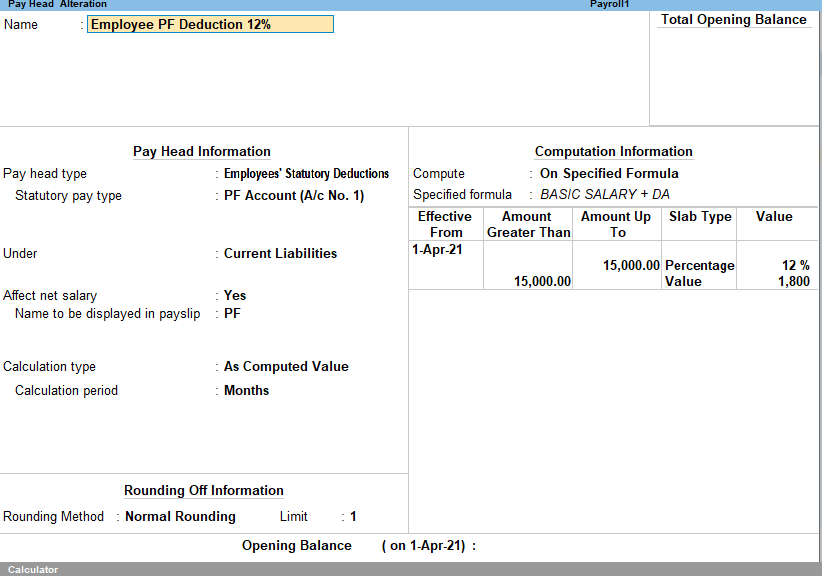 Employee PF Deductions payroll tally prime