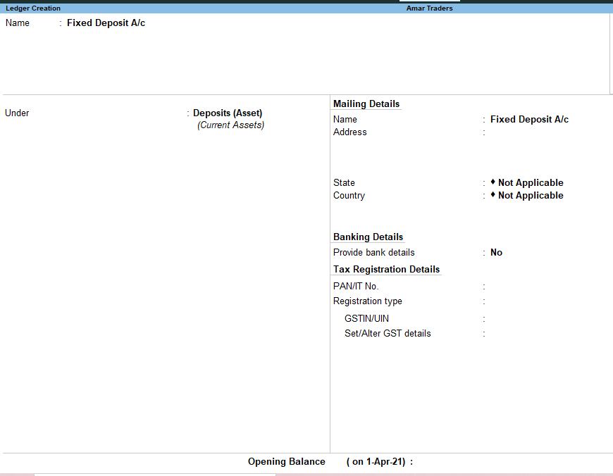 Fixed deposit ledger in Tally Prime