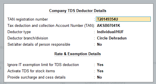 Company detail in tally prime