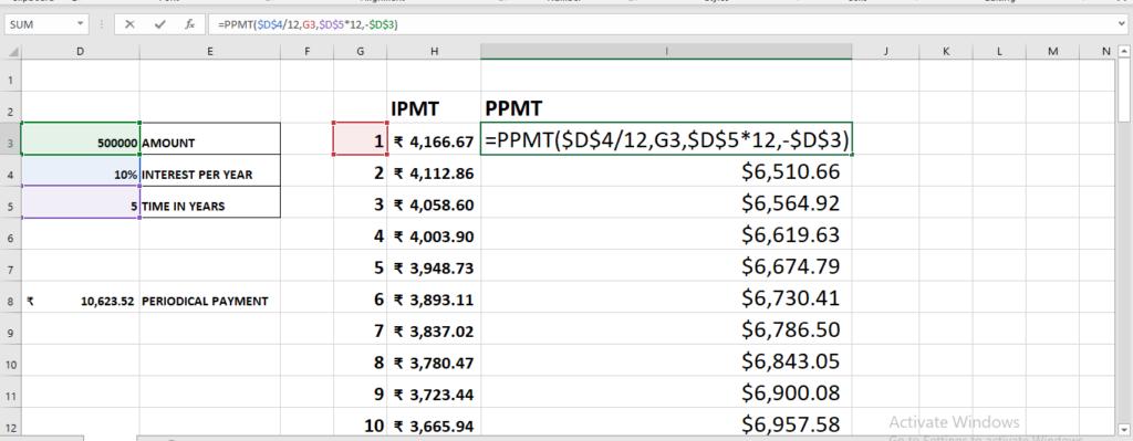 PPMT function in excel