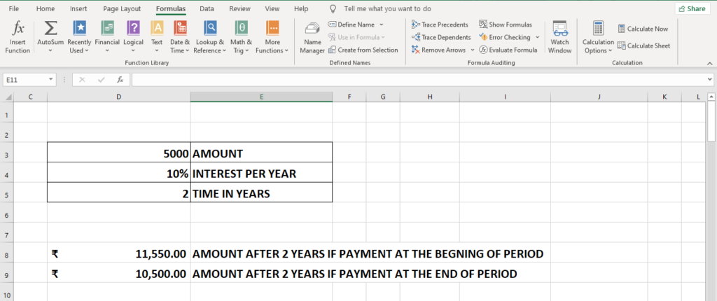 FV formula for future value